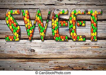 """inscription, """", """"sweet, bonbon, bonbons, multi-coloré"""
