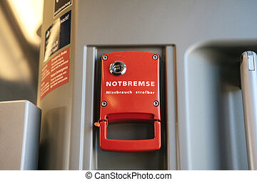 inscription, urgence, allemand, -, abus, translates, train, frein, stop., punishable., levier, rouges