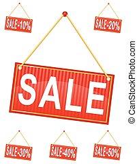inscription, vente, illustration, étiquette, corde, vecteur, signe, rouges