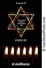 inscription, yom, 27, january., holocauste, day., vecteur, hazikaron., hébreu, souvenir, international