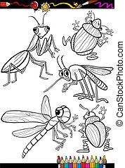 insectes, coloration, ensemble, livre, dessin animé