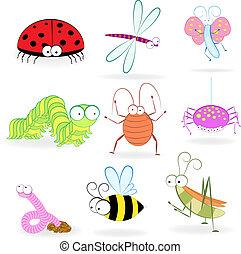 insectes, rigolote, ensemble, dessin animé
