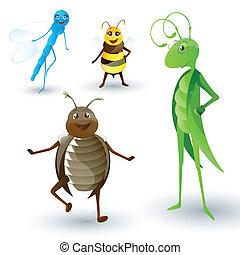 insectes, vecteur, dessin animé