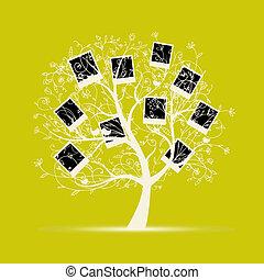 insertion, arbre généalogique, conception, photos, cadres, ton