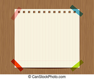 insertion, bois, texte, mur, papier cahier, revêtu, ton
