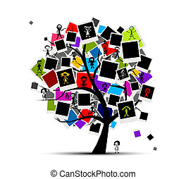 insertion, image, mémoires, arbre, ton, armatures photo, conception