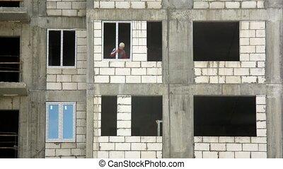 insertions, défaillance, ouvrier, fenêtre verre, temps, cadres, bâtiment.