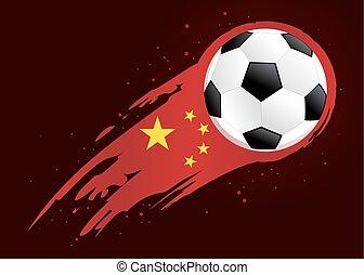 insigne, balle, résumé, porcelaine, fond, football