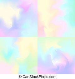 inspiré, pastel, toiles fond, hologramme, arrière-plans, ensemble, 4, résumé, arc-en-ciel