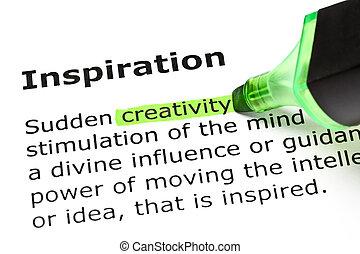 'inspiration', mis valeur, 'creativity', sous