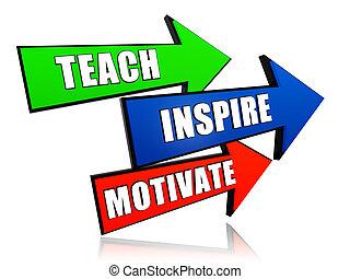 inspirer, motiver, flèches, enseigner