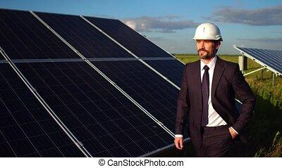 installation, vérification, métrage, directeur, field., panneaux solaires