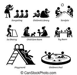 installations, récréatif, activities., enfants