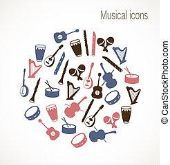 instrument, musical, icônes