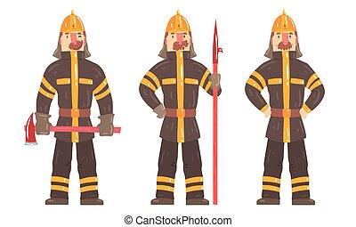 instruments, dessin animé, blanc, poser, caractère, fonctionnement, équipement, ensemble, fond, isolé, pompier, illustration