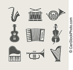 instruments, ensemble, musical, icônes