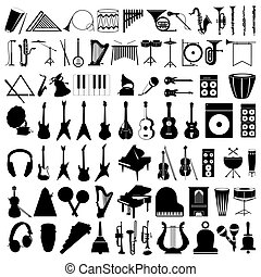 instruments., illustration, silhouettes, vecteur, collection, musical