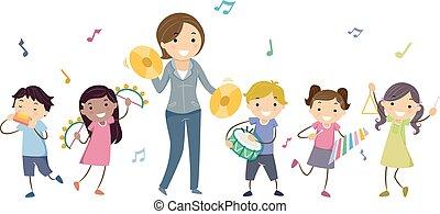 instruments, jeu, gosses, stickman, prof