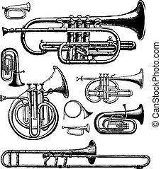 instruments, laiton, vecteur