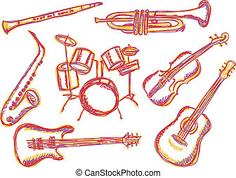 instruments, musique, doodles
