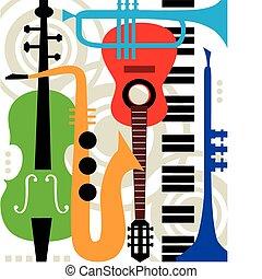 instruments, résumé, vecteur, musique