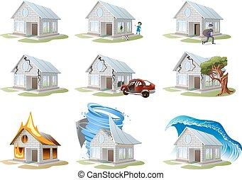 insurance., maison, propriété, assurance