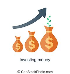intérêt, concept., revenu, argent., fonds, vecteur, temps, growth., composé, plan., avenir, pension
