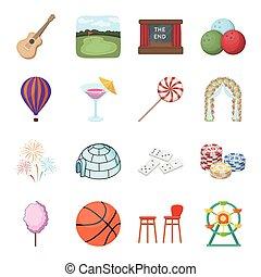 intérêts, isométrique, ensemble, icônes, symbole, divertissement, web., style, collection, personne, vecteur, divers, illustration, life., plaisir, dessin animé, stockage