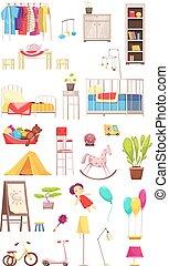 intérieur, éléments, ensemble, enfants, salle