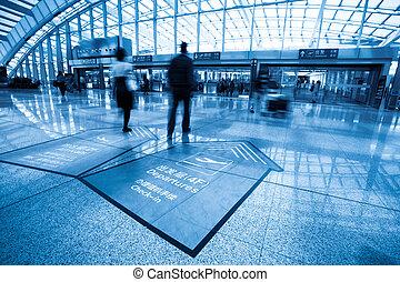 intérieur, aéroport, passager