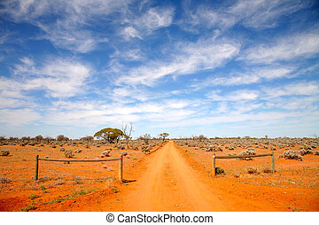 intérieur, australie, route
