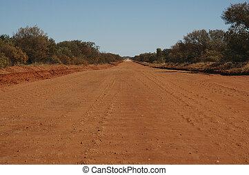 intérieur, australie, route, terre
