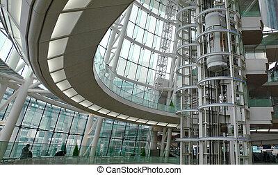 intérieur bâtiment, futuriste