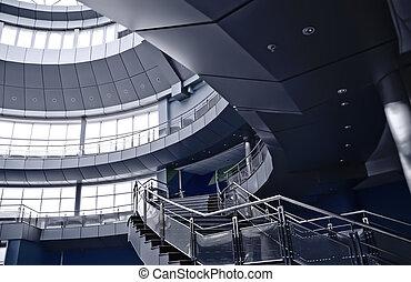 intérieur bâtiment, moderne, balcons, escalier