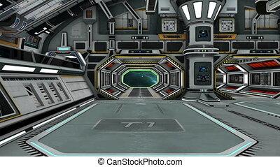 intérieur, bateau, espace