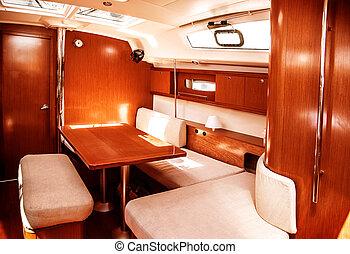 intérieur, bateau, luxe