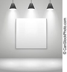intérieur, blanc, galerie, cadre