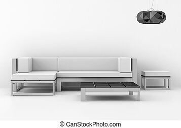 intérieur, blanc, moderne