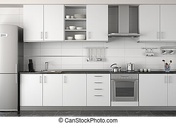 intérieur, blanc, moderne, conception, cuisine