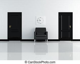intérieur, blanc, noir