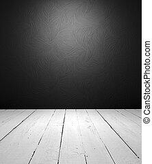 intérieur, blanc, noir, vide