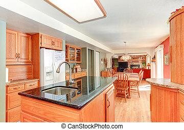 intérieur, bois, chêne, cabinetry, clair, cuisine