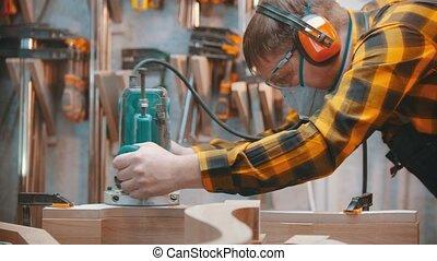 intérieur, bois, menuisier, -, polishes, homme, charpenterie, planche