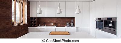 intérieur, brun, blanc, cuisine