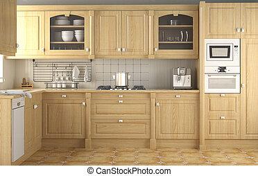 intérieur, classique, conception, cuisine