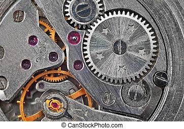 intérieur, (clockworks), horloge