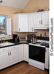 intérieur, contemporain, propre, cuisine