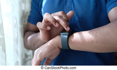 intérieur, couleur, montre, intelligent, noir, utilisation