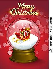 intérieur, cristal, présente, traîneau, neige, santa, tas, noël, globe