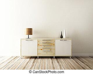 intérieur, décoré, cabinet, accessoire